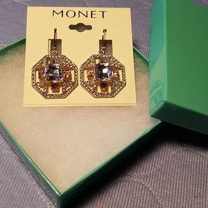 Monet Lavender Crystal Octagonal Dangling Earrings